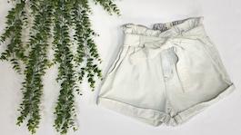 Light Wash Belted Denim Shorts