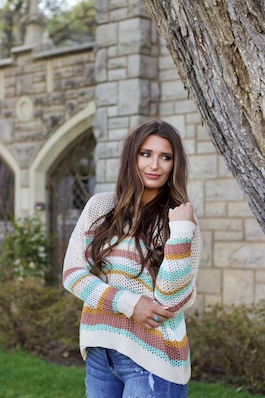 """Somewhere Over The Rainbow"" Multi Colored Knitted Sweater"