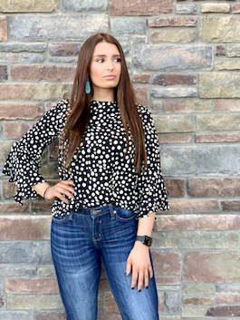 """""""The Perfect Spot"""" Black Spotted Ruffle Detail Top"""