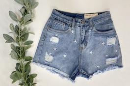 Star Detail Cutoff Shorts