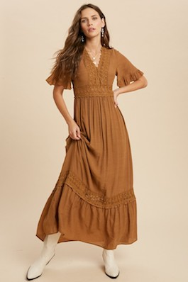 """Wander"" Gucci Crochet Lace Trim Maxi Dress"