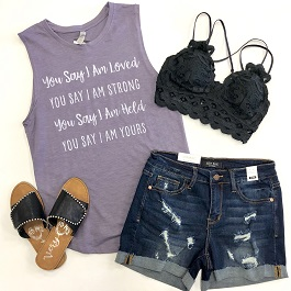 """You Say I Am"" Purple Sleeveless Graphic Tank"