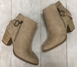 Taupe Zipper Detail Bootie