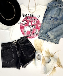 """""""Amarillo By Morning"""" White Graphic T-Shirt"""