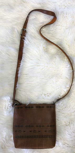Genuine Leather Engraved Detail Cross Body Purse