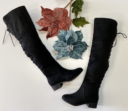 Black Lace Up Over The Knee Flat Boot