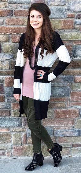 """Hannah"" Black & White Striped Cardigan"