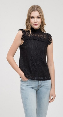 """Lacee"" Black Sleeveless Lace Top"