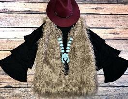 """""""Warm & Fuzzy"""" Long Mocha Faux Fur Vest"""