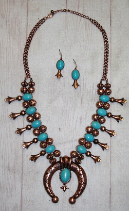 Copper & Turquoise Squash Blossom With Large Naja
