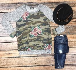 """Cute In Hiding"" Camo& Floral Long Sleeve Top"