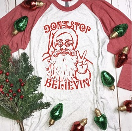 """""""Don't Stop Believing"""" Baseball Tee"""