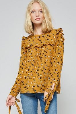 """Blooming Gypsy"" Mustard Floral Top"