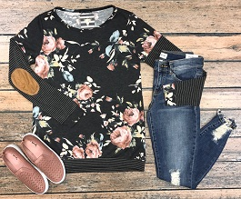 """""""Fall Blossom"""" Floral Top With Elbow Patches(15633)"""