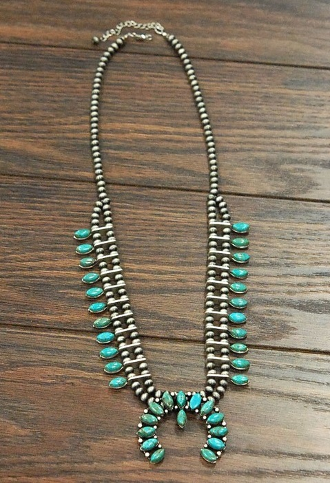 Silver & Multi Turquoise Squash Blossom