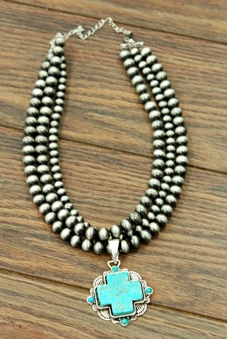 Three Strand Navajo Pearl W/ Turquoise Cross