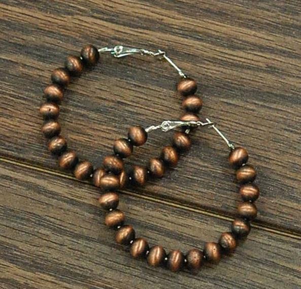 Copper Navajo Pearl Hoop Earring