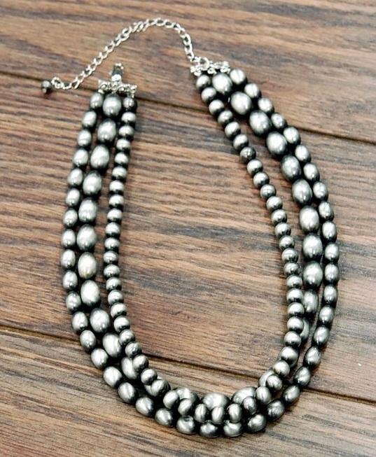 Multi Tone Three Strand Navajo Pearl Necklace