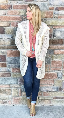 """Spring Warmth"" Cream Knitted Ruffle Cardigan"