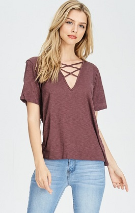 """Jolie"" Criss Cross Front T-Shirt"