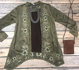 """Fall Beauty"" Olive Embroidered Suede Cardigan"
