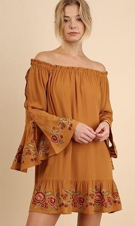 """Marabelle"" Mustard Embroidered Off Should Dress(G1246)"