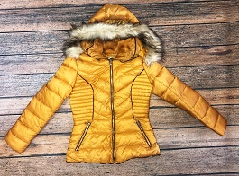 """Lil Miss Sunshine"" Mustard Puffer Jacket With Fur Hood"