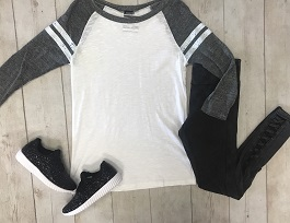"""Game Day"" Grey/White Baseball Tee"