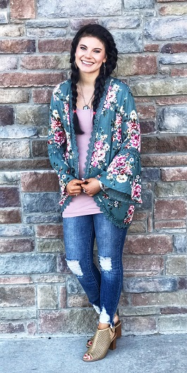 """Garden of Love"" Sage Floral Cardigan"