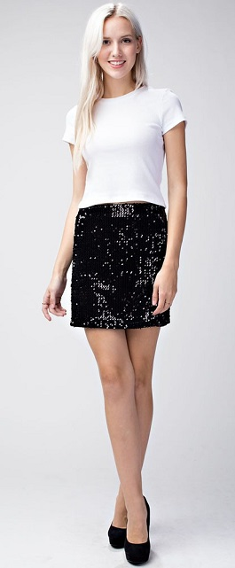 """Watch Me Sparkle"" Black Sequin Skirt"