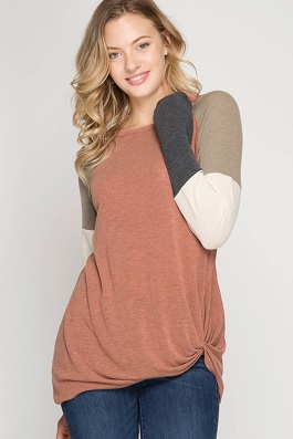 """Cinnamon Twist"" Color Blocked Sleeve Top With Front Twist"