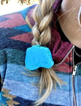 Turquoise Stone Slab Hair Tie