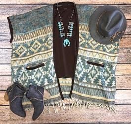 """""""Chimayo"""" Turquoise & Brown Poncho Jacket"""