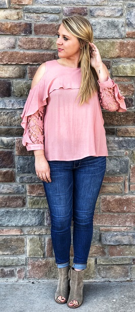 """Alli"" Blush Crochet Sleeve Overlay Top"