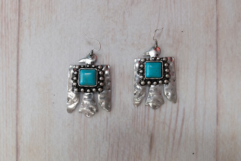 Silver Thunderbird with Square Turquoise Stone