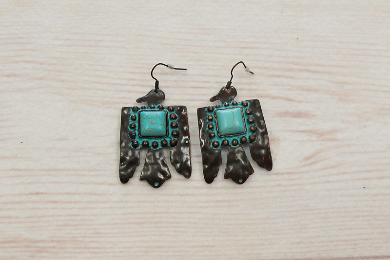 Patina Thunderbird with Square Turquoise Stone