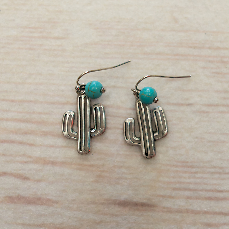Small Silver Cactus with Turquoise Bead