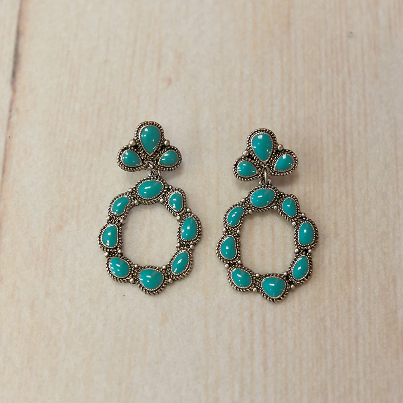 Turquoise Three Stone Post with Circle Dangle